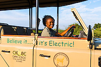 Africa, Botswana, Kasane, Chobe National Park, Chobe Game Lodge, Malebogo Lebo Kgoleng, one of Chobe's women guides with new electric game viewing vehicles.