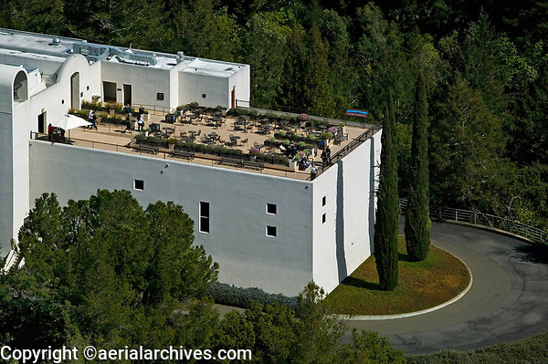 aerial photograph of the wine tasting patio at Sterling Vineyards, Calistoga, Napa County, California