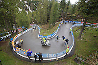 Nairo Quintana (COL/Movistar) rides away from Ryder Hesjedal (CAN/Garmin-Sharp) in the last few corners up to the finish of the Val Martello climb (2059m)<br /> <br /> 2014 Giro d'Italia <br /> stage 16: Ponte di Legno - Val Martello (139km)