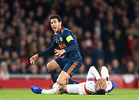 Valencia Daniel Parejo and Arsenal's Alexandre Lacazette during the UEFA Europa League Semi-Final 1st leg match between Arsenal and Valencia at the Emirates Stadium, London, England on 2 May 2019. Photo by Andrew Aleksiejczuk / PRiME Media Images.