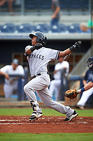 Tampa Yankees third baseman Daniel Barrios (29) follows through on a swing during the first game of a doubleheader against the Charlotte Stone Crabs on July 18, 2017 at Charlotte Sports Park in Port Charlotte, Florida.  Charlotte defeated Tampa 7-0 in a game that was originally started on June 29th but called to inclement weather.  (Mike Janes/Four Seam Images)
