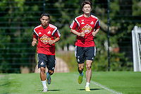 Thursday 24 July 2014<br /> Pictured:  Jefferson Montero and Ki Sung-Yong during training <br /> Re: Swansea City Training at Fairwood