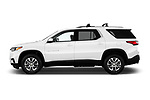 Car Driver side profile view of a 2018 Chevrolet Traverse 1LT 5 Door SUV Side View