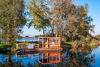 Hausboot zum Mieten im Hafen, Linumer Teichland, Linum, Fehrbellin, Ostprignitz-Ruppin, Brandenburg, Deutschland