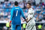 Real Madrid Keylor Navas and Sergio Ramos during Santiago Bernabeu Trophy match at Santiago Bernabeu Stadium in Madrid, Spain. August 11, 2018. (ALTERPHOTOS/Borja B.Hojas)