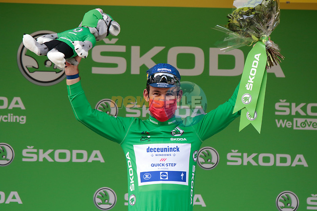 Mark Cavendish (GBR) Deceuninck-Quick Step retains the points Green Jersey at the end of Stage 15 of the 2021 Tour de France, running 191.3km from Céret to Andorre-La-Vieille, Andorra. 11th July 2021.  <br /> Picture: Colin Flockton | Cyclefile<br /> <br /> All photos usage must carry mandatory copyright credit (© Cyclefile | Colin Flockton)