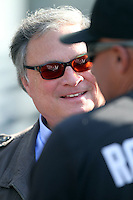 Florida Marlins Owner Jeffrey Loria talks with Manager Edwin Rodriguez before game against the Los Angeles Dodgers at Dodger Stadium on May 28, 2011 in Los Angeles,California. Photo by Larry Goren/Four Seam Images