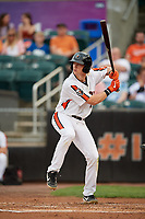 Aberdeen IronBirds Kyle Stowers (54) at bat during a NY-Penn League game against the Vermont Lake Monsters on August 19, 2019 at Leidos Field at Ripken Stadium in Aberdeen, Maryland.  Aberdeen defeated Vermont 6-2.  (Mike Janes/Four Seam Images)
