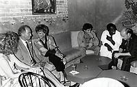 Montreal (Qc) CANADA - august 26 1986 File Photo - Pierre Trudeau, Denise Filliatrault, ?, Isaac De Bankole, Michel attend a party at l'Esprit. 1234 de la Montagne<br /> <br /> PHOTO :  Agence Quebec Presse