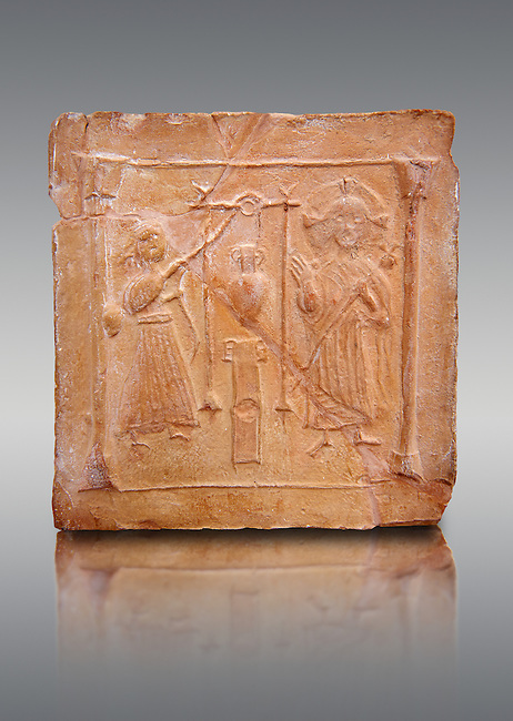 6th-7th Century Eastern Roman Byzantine  Christian Terracotta tiles depicting Christ changing Water into wine - Produced in Byzacena -  present day Tunisia. <br /> <br /> These early Christian terracotta tiles were mass produced thanks to moulds. Their quadrangular, square or rectangular shape as well as the standardised sizes in use in the different regions were determined by their architectonic function and were designed to facilitate their assembly according to various combinations to decorate large flat surfaces of walls or ceilings. <br /> <br /> Byzacena stood out for its use of biblical and hagiographic themes and a richer variety of animals, birds and roses. Some deer and lions were obviously inspired from Zeugitana prototypes attesting to the pre-existence of this province's production with respect to that of Byzacena. The rules governing this art are similar to those that applied to late Roman and Christian art with, in the case of Byzacena, an obvious popular connotation. Its distinguishing features are flatness, a predilection for symmetrical compositions, frontal and lateral representations, the absence of tridimensional attitudes and the naivety of some details (large eyes, pointed chins). Mass production enabled this type of decoration to be widely used at little cost and it played a role as ideograms and for teaching catechism through pictures. Painting, now often faded, enhanced motifs in relief or enriched them with additional details to break their repetitive monotony.<br /> <br /> The Bardo National Museum Tunis, Tunisia.   Against a grey background.