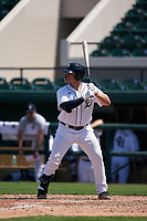 Detroit Tigers Nick Ames (53) bats during a Minor League Spring Training game against the Baltimore Orioles on April 14, 2021 at Joker Marchant Stadium in Lakeland, Florida.  (Mike Janes/Four Seam Images)