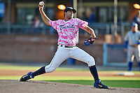 Asheville Tourists starting pitcher Antonio Senzatela #9 delivers a pitch during a game against the  Lexington Legends at McCormick Field on May 16, 2014 in Asheville, North Carolina. The Tourists defeated the Legends 11-1. (Tony Farlow/Four Seam Images)
