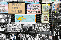 Anti-Trump and pro-Black Lives Matter signs cover a barricade surrounding Lafayette Square and the White House in preparation for anticipated street violence on the night of Election Day in Washington, D.C., on Tue., Nov. 3, 2020. Demonstrators in nearby Black Lives Matter Plaza remained peaceful.