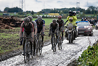 Guillaume Boivin (CAN/Israel Start-Up Nation) leading the muddy way<br /> <br /> 118th Paris-Roubaix 2021 (1.UWT)<br /> One day race from Compiègne to Roubaix (FRA) (257.7km)<br /> <br /> ©kramon