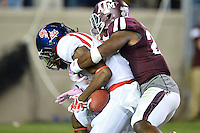 Ole Miss wide receiver Quincy Adeboyejo (8) lands in the end zone for a touchdown during second half of an NCAA football game, Saturday, October 11, 2014 in College Station, Tex. Ole Miss defeated Texas A&M 35-20. (Mo Khursheed/TFV Media via AP Images)