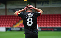 Lincoln City's James Jones reacts after a chance failed to convert in the first half<br /> <br /> Photographer Chris Vaughan/CameraSport<br /> <br /> The EFL Sky Bet League One - Fleetwood Town v Lincoln City - Saturday 17th October 2020 - Highbury Stadium - Fleetwood<br /> <br /> World Copyright © 2020 CameraSport. All rights reserved. 43 Linden Ave. Countesthorpe. Leicester. England. LE8 5PG - Tel: +44 (0) 116 277 4147 - admin@camerasport.com - www.camerasport.com