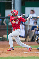 DeAndre Asbury-Heath (5) of the Johnson City Cardinals follows through on his swing against the Elizabethton Twins at Joe O'Brien Field on July 11, 2015 in Elizabethton, Tennessee.  The Twins defeated the Cardinals 5-1. (Brian Westerholt/Four Seam Images)