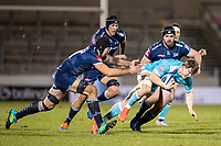 8th January 2021; AJ Bell Stadium, Salford, Lancashire, England; English Premiership Rugby, Sale Sharks versus Worcester Warriors; Ted Hill of Worcester Warriors is tackled by Josh Beaumont of Sale Sharks