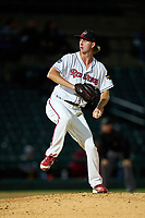 Rochester Red Wings pitcher Nick Wells (43) during a game against the Worcester Red Sox on September 3, 2021 at Frontier Field in Rochester, New York.  (Mike Janes/Four Seam Images)