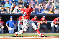 Lakewood BlueClaws Luis Garcia (3) swings at a pitch during a game against the Asheville Tourists at McCormick Field on June 15, 2019 in Asheville, North Carolina. The BlueClaws defeated the Tourists 4-2. (Tony Farlow/Four Seam Images)