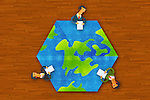 Illustrative image of businesspeople around earth representing global business meeting