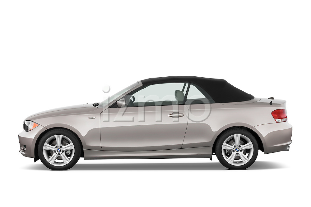 Driver side profile view of a 2007 - 2011 BMW 1-Series 128i convertible.