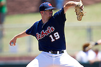 Pitcher Bobby Wahl #19 of the Ole Miss Rebels delivers during the NCAA Regional baseball game against the Texas Christian University Horned Frogs on June 1, 2012 at Blue Bell Park in College Station, Texas. Ole Miss defeated TCU 6-2. (Andrew Woolley/Four Seam Images).