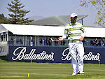 JEJU, SOUTH KOREA - APRIL 24:  Pablo Larrazabal of Spain waits to play on the 17th tee during the Round Two of the Ballantine's Championship at Pinx Golf Club on April 24, 2010 in Jeju island, South Korea. Photo by Victor Fraile / The Power of Sport Images