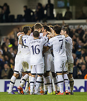 Teammates celebrate Mousa Dembele of Tottenham Hotspur winning strike during the UEFA Europa League Group J match between Tottenham Hotspur and R.S.C. Anderlecht at White Hart Lane, London, England on 5 November 2015. Photo by Andy Rowland.
