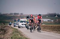 the breakaway group led by Frederik Frison (BEL/Lotto-Soudal) over the Pulstreets gravel roads<br /> <br /> 81st Gent-Wevelgem in Flanders Fields (1.UWT)<br /> Deinze > Wevelgem (251km)