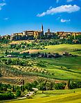 Italien, Toskana, das mittelalterliche Staedtchen Pienza | Italy, Tuscany, medievial small town Pienza