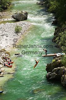 Austria, Styria, Palfau: adventure at SalzaArena - whitewater kayaking on river Salza   Oesterreich, Steiermark, Palfau: Abenteuer in der SalzaArena - Wildwasser-Kajakfahrt auf der Salza