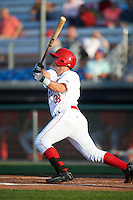 Auburn Doubledays third baseman Sheldon Neuse (38) at bat during a game against the Williamsport Crosscutters on June 25, 2016 at Falcon Park in Auburn, New York.  Auburn defeated Williamsport 5-4.  (Mike Janes/Four Seam Images)