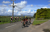Scots College (left) and Hamilton BHS senior A u20 boys in action during the NZ Schools Road Cycling championship day one team time trials at Koputaroa Road near Levin, New Zealand on Saturday, 30 September 2017. Photo: Dave Lintott / lintottphoto.co.nz