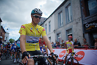 race leader Niki Terpstra (NLD/Etixx-QuickStep) at the start of the last stage<br /> <br /> Tour de Wallonie 2015 stage 5: Chimay - Thuin (167km)