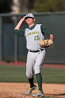 Ryon Healy #25 of the Oregon Ducks before a game against the UCLA Bruins at Jackie Robinson Stadium on April 6, 2012 in Los Angeles,California. Oregon defeated UCLA 8-3.(Larry Goren/Four Seam Images)