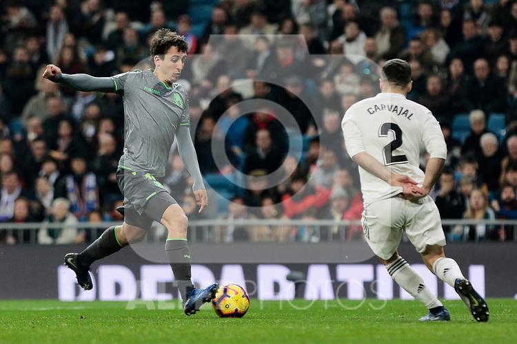 Real Madrid's Dani Carvajal and Real Sociedad's Mikel Oyarzabal during La Liga match between Real Madrid and Real Sociedad at Santiago Bernabeu Stadium in Madrid, Spain. January 06, 2019. (ALTERPHOTOS/A. Perez Meca)<br />  (ALTERPHOTOS/A. Perez Meca)