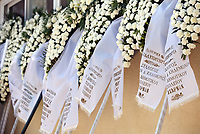 """Pictured:Floral tributes for Marios Souloukos at his funeral the Acharnes Cemetery, Athens, Greece. Saturday 10 June 2017<br /> Re: An 11 year old boy has been shot dead by a """"stray bullet"""" during a school celebration in Acharnes (Menidi) area, in the outskirts of Athens, Greece.<br /> Marios Dimitrios Souloukos """"complained to his mum"""" who works as a teacher at the 6th Primary School of Acharnes that he was feeling unwell, he then collapsed with blood pouring out from the top of his head.<br /> His mum tried to revive him assisted by other teachers while his schoolmates who were reportedly upset, were hurriedly removed by their parents.<br /> According to locals an ambulance arrived 25 minutes late.<br /> Hundreds of police officers have been deployed in the area and have raided many properties.<br /> Shells matching the fatal bullet which hit the boy on the top of his head were found in a house yard nearby.<br /> Local people reported hearing shots being fired at a nearby Romany Gypsy camp before the fatal incident.<br /> The area has been plagued with criminality during the last few years."""