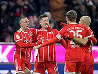 10.02.2018,  Football 1.Liga 2017/2018, 22. match day,  FC Bayern Muenchen - FC Schalke 04, in Allianz Arena Muenchen. , Robert Lewandowski (2.v.li, FC Bayern Muenchen) li: Franck Ribery (FC Bayern Muenchen). *** Local Caption *** © pixathlon<br /> <br /> +++ NED + SUI out !!! +++<br /> Contact: +49-40-22 63 02 60 , info@pixathlon.de