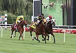 21 August 2010: MEMORIAL MANIAC and Jockey James Graham winning the 79th running of the G3 Stars & Stripes at Arlington Park in Arlington Heights, Illinois.