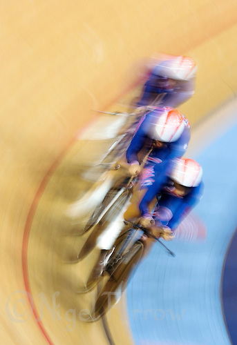 03 AUG 2012 - LONDON, GBR - The team from the USA (USA) race against the clock during the women's Team Pursuit qualifying round at the London 2012 Olympic Games in the Olympic Park Velodrome in Stratford, London, Great Britain (PHOTO (C) 2012 NIGEL FARROW)