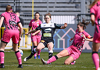 Niekie Pellens (41) of Eendracht Aalst pictured in a duel with Noemie Fourdin (11) of Sporting Charleroi during a female soccer game between Eendracht Aalst and Sporting Charleroi on the 18 th and last matchday before the play offs of the 2020 - 2021 season of Belgian Scooore Womens Super League , Saturday 27 th of March 2021  in Aalst , Belgium . PHOTO SPORTPIX.BE | SPP | DAVID CATRY