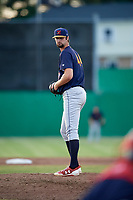 State College Spikes starting pitcher Jim Voyles (44) gets ready to deliver a pitch a game against the Batavia Muckdogs on July 9, 2018 at Dwyer Stadium in Batavia, New York.  State College defeated Batavia 3-0.  (Mike Janes/Four Seam Images)
