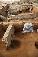 Neolithic remains of mud brick houses walls of the north ecavation area, Catalyhoyuk Archaeological Site, Çumra, Konya, Turkey