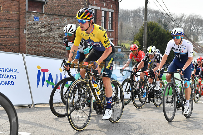 Slovenian Champion Primoz Roglic (SLO) Jumbo-Visma on the penultimate climb of the Mur de Huy during the 2021 Flèche-Wallonne, running 193.6km from Charleroi to Huy, Belgium. 21st April 221.  <br /> Picture: Serge Waldbillig | Cyclefile<br /> <br /> All photos usage must carry mandatory copyright credit (© Cyclefile | Serge Waldbillig)
