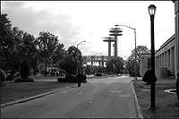 """10/26/04_Flushing Meadow-Corona Park, site of the 1939 & 1964 New York World Fairs. Statues include """"The Rocket Thrower"""" by Donald DeLue, and """"The Freedom of the Human Spirit"""" by Marshall Fredericks and the Unisphere, the symbol of the 1964-65 World's Fair.  Photo ©Neil Schneider/PHOTOlink"""