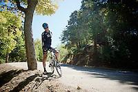Vasil Kiryienka (BLR/SKY) having a break during the stage 17 TT recon ride<br /> <br /> restday 2 in Burgos<br /> 2015 Vuelta à Espagna