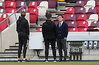 Fulham Manager, Scott Parker on the pitch having a discussion ahead of kick-off during Brentford vs Fulham, Caraboa Cup Football at the Brentford Community Stadium on 1st October 2020