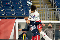 FOXBOROUGH, MA - OCTOBER 16: Justin Che #46 of North Texas SC and Justin Rennicks battle for a head ball during a game between North Texas SC and New England Revolution II at Gillette Stadium on October 16, 2020 in Foxborough, Massachusetts.