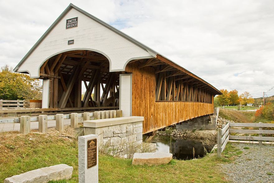 The Smith Millenium Covered Bridge spanning the Baker River in Plymouth New Hampshire.